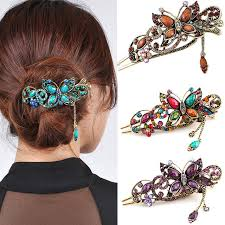 butterfly hair clip vintage retro colorful butterfly hair clip fork court patina
