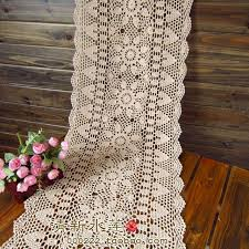 lace table runners wedding free shipping white biege rectangle crochet hook cotton flowers lace