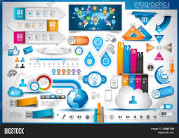 World Cloud Map by Infographic Elements Set Of Paper Tags Technology Icons Cloud