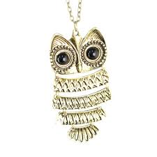 necklace owl images Vintage hinged owl necklace jpg