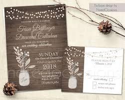 wedding invitation set mason jar wedding blush pink gray
