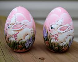 painted wooden easter eggs easter bunny egg painted wooden bunny egg painted