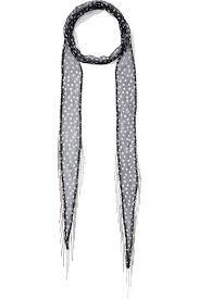 chan luu embellished polka dot chiffon scarf in black lyst