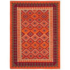 Red Area Rug by Jaipur Rug10019 Anatolia Flat Weave Tribal Pattern Wool Orange Red