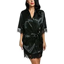 robe de chambre en satin amazon fr peignoir satin noir