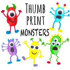thumb print monsters doodle and stitch