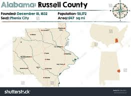 Alabama City Map Large Detailed Map Russell County Alabama Stock Vector 658047691