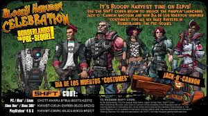 borderlands halloween costume borderlands the pre sequel bloody harvest shift codes u2013 gearbox