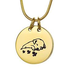 pet urn necklace coco park gold engraving sleeping dog pet cremation necklace