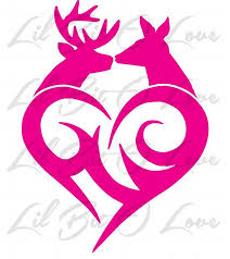 buck and doe heart buck doe deer tribal heart vinyl decal sticker by lilbitolove on