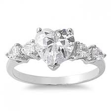 diamond heart ring 925 sterling silver five 2 80ct simulated diamond heart