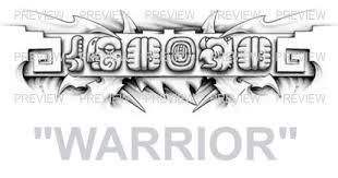 warrior mayan glyphs design b aztec tattoos aztec