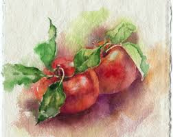 painting for kitchen apple painting print apple watercolor fruit rustic kitchen