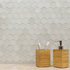 shop elida ceramica brushed glass hex mosaic glass wall tile
