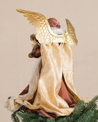 christmas angel bronze and gold christmas angel tree topper balsam hill