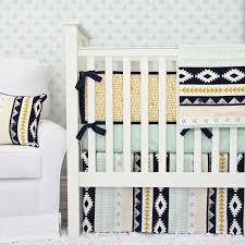 aztec gold and mint crib bedding set by caden lane