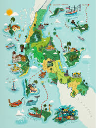 Seas Of The World Map by A Map Illustration For The Tourist Pocket Book