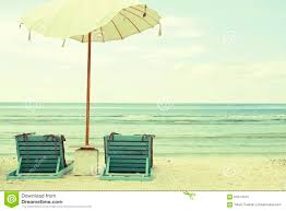 beach umbrella and chairs vintage postcard stock photo image