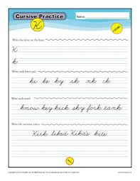 cursive k letter k worksheets for handwriting practice