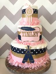tribal diaper cake in pink navy and gold aztec baby shower