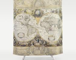 Shower Curtain Map Cream On White World Map Shower Curtain Historical Map