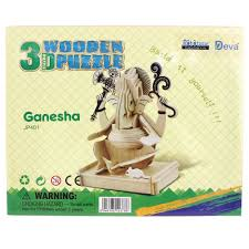 unfinished 3d india elephant ganesha animal wood puzzle toy for