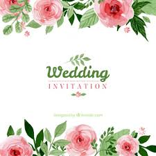 floral wedding invitation vector free