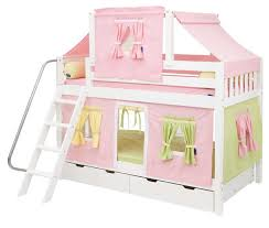 Pink Green And Yellow Tent Bunk Bed In White By Maxtrix Kids - Maxtrix bunk bed