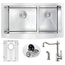 brushed nickel faucet with stainless steel sink anzzi elysian farmhouse stainless steel 33 in double bowl kitchen