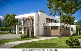 House With Garage 3d Rendering Modern Cozy House Garage Stock Illustration 519386218