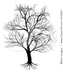 clipart silhouetted bare tree and roots royalty free