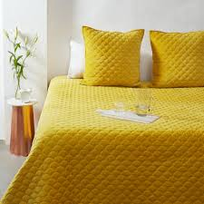 Buy Bed Sheets by Mustard Velvet Scallop Bedcover Set Buy Velvet Bed Sheets Online