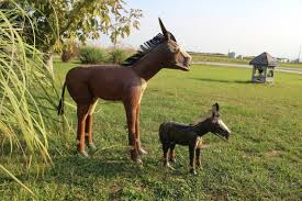 recycled metal horses in 2 sizes lawn decorations farm animals