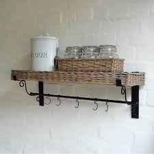 kitchen wicker wall mounted shelf with basket for mason jar and