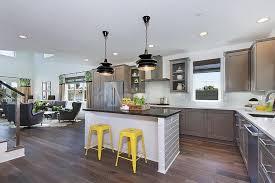 grey white yellow kitchen gray kitchen with yellow stools contemporary kitchen