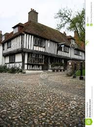 cobbled street tudor house rye england royalty free stock