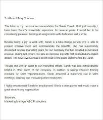 best ideas of recommendation letter sample for supervisor position