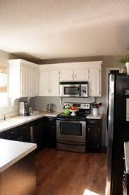 Two Tone Cabinets In Kitchen Black And White Kitchen With White Top Cabinets And Black Bottom
