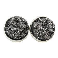 glitter stud earrings metallic gray faux druzy stud earrings glitter jewelry