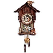 Authentic Cuckoo Clocks Charming Kittens Maple Cuckoo Clock Petslady Com