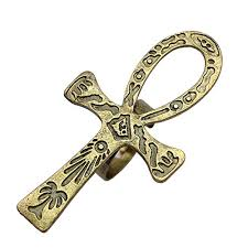 Finger Tribal - q q fashion vintage gold tribal carved ankh cros