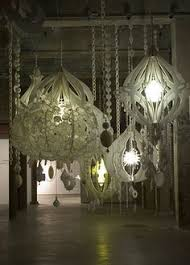 How To Make A Cardboard Chandelier How To Make A Paper Chandelier Dental Floss And Glue Sticks