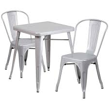 Indoor Bistro Table And 2 Chairs Metal 3 Piece Bistro Set In Silver Ch 31330 2 30 Sil Gg