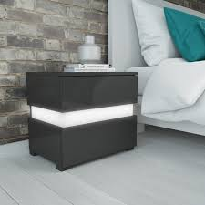 how high should a bedside table be sense grey high gloss bedside table with led light furniture123