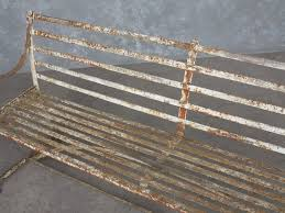 antique iron strapwork outdoor garden benches