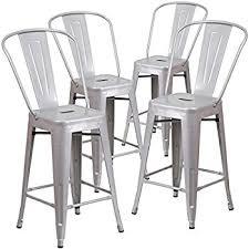 indoor outdoor counter height stool flash furnitur amazon com flash furniture 4 pk 24 high silver metal indoor