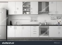 modern black kitchen interior design clean modern white black stock illustration