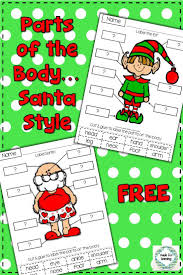 and free cut and paste santa themed practice with parts of the