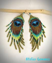 Handmade Seed Beaded Gold Plated Long Earrings Seed Beads Fringes Peacock Feather By Ateliergemmes
