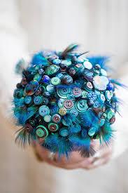 Wedding Flowers Blue Button Bouquet U0027indian Blue Peacock U0027 Feather And Button Bouquet